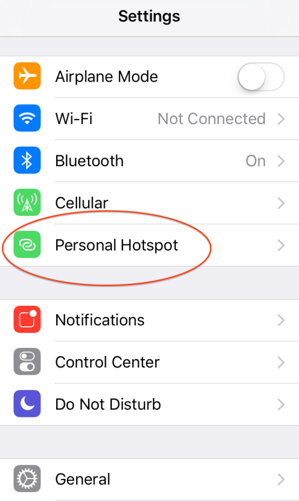 Select personal hotspot